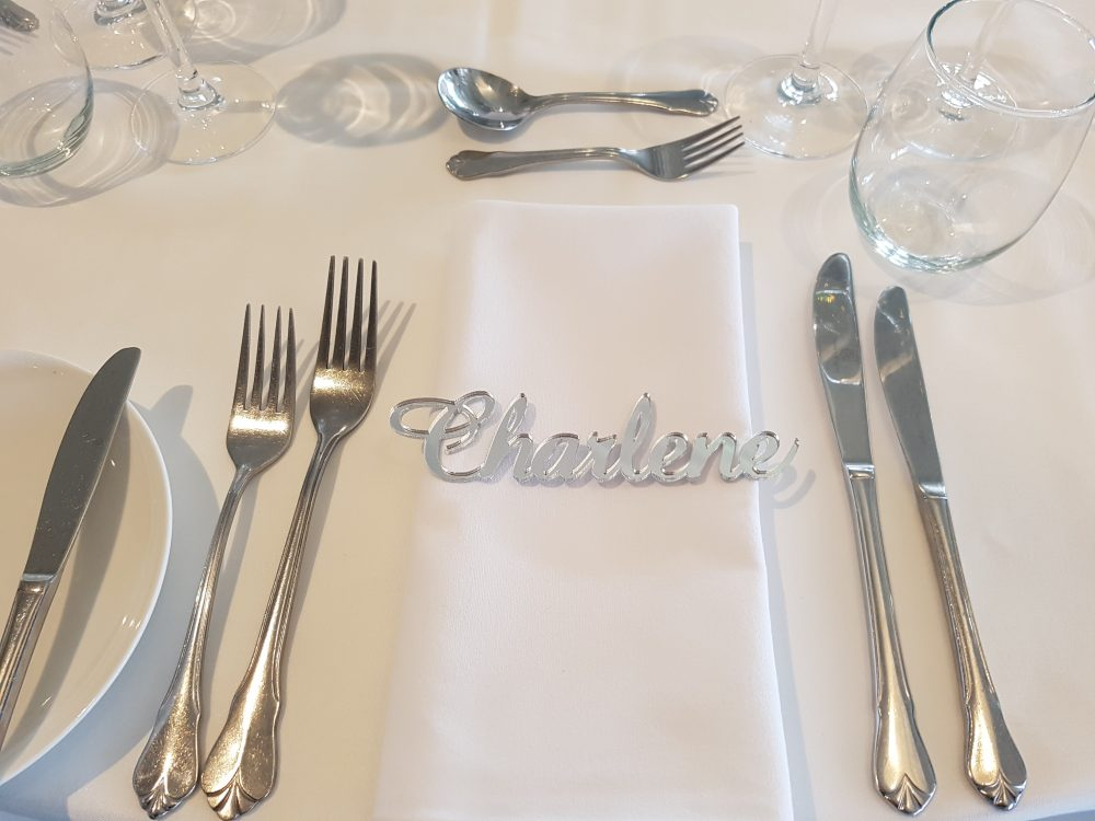 Silver Mirror Laser Cut Place Cards