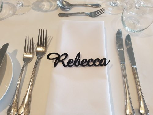 Black Acrylic Laser Cut Place Cards