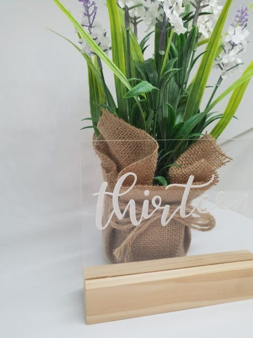 Clear Acrylic Table Numbers with Wooden Bases