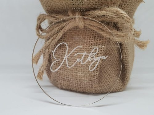 Clear Acrylic Engraved Circle Place Card