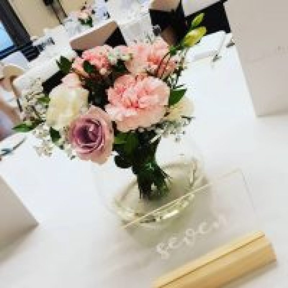 Clear Table Numbers Engraved with wooden base - bliss events