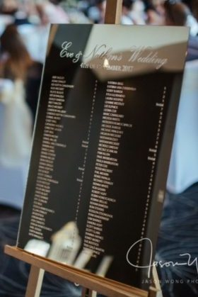 GOLD Mirror Acrylic Engraved Table Seating Chart