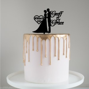 Quick Creations Cake Topper - Bride & Groom Date and Names