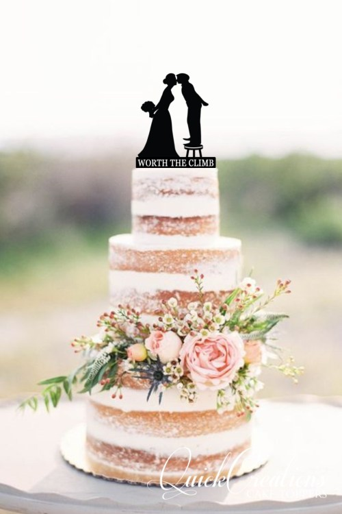 Quick Creations Cake Topper - Bride & Groom Worth The Climb