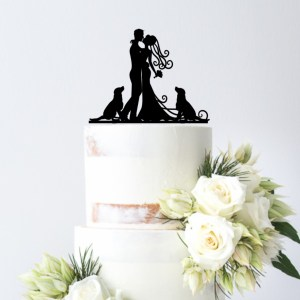 Quick Creations Cake Topper - Bride & Groom with Dogs