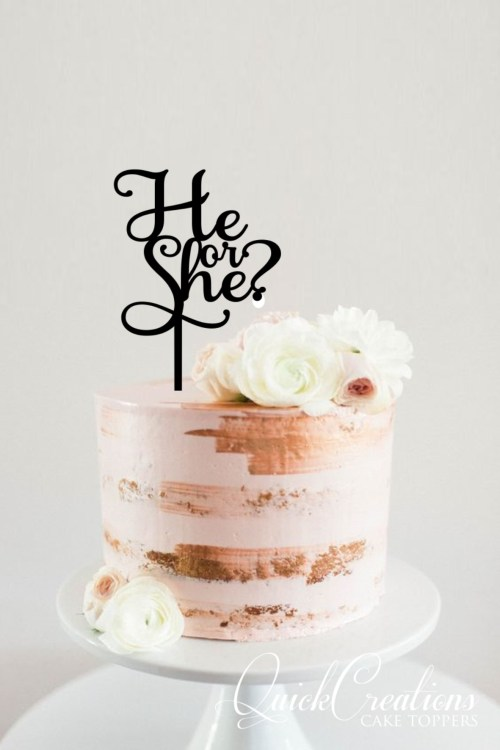 Quick Creations Cake Topper - He or She