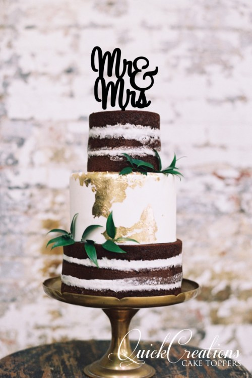 Quick Creations Cake Topper - Mr & Mrs Cursive