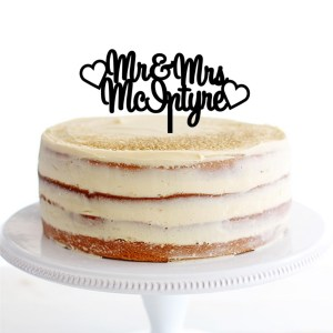 Mr & Mrs Hearts Cake Topper