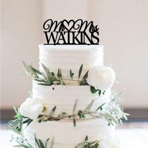 Mr & Mrs Watkins Cake Topper