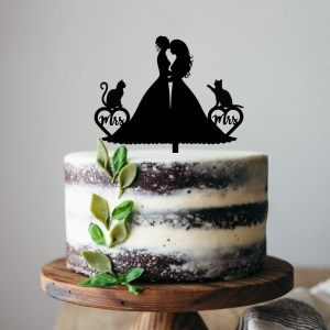 Mrs & Mrs Brides Cats Cake Topper