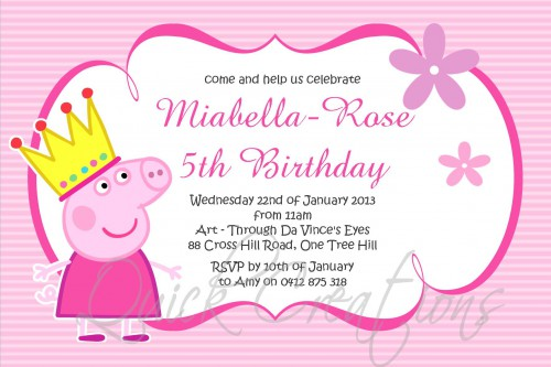 Childrens Birthday Invitations Princess Peppa Pig Invitation