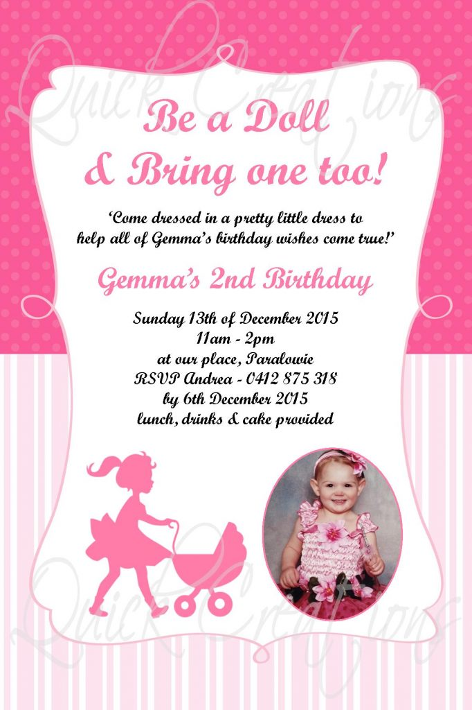 Childrens Birthday Invitations Be A Doll Bring One Too Invitation