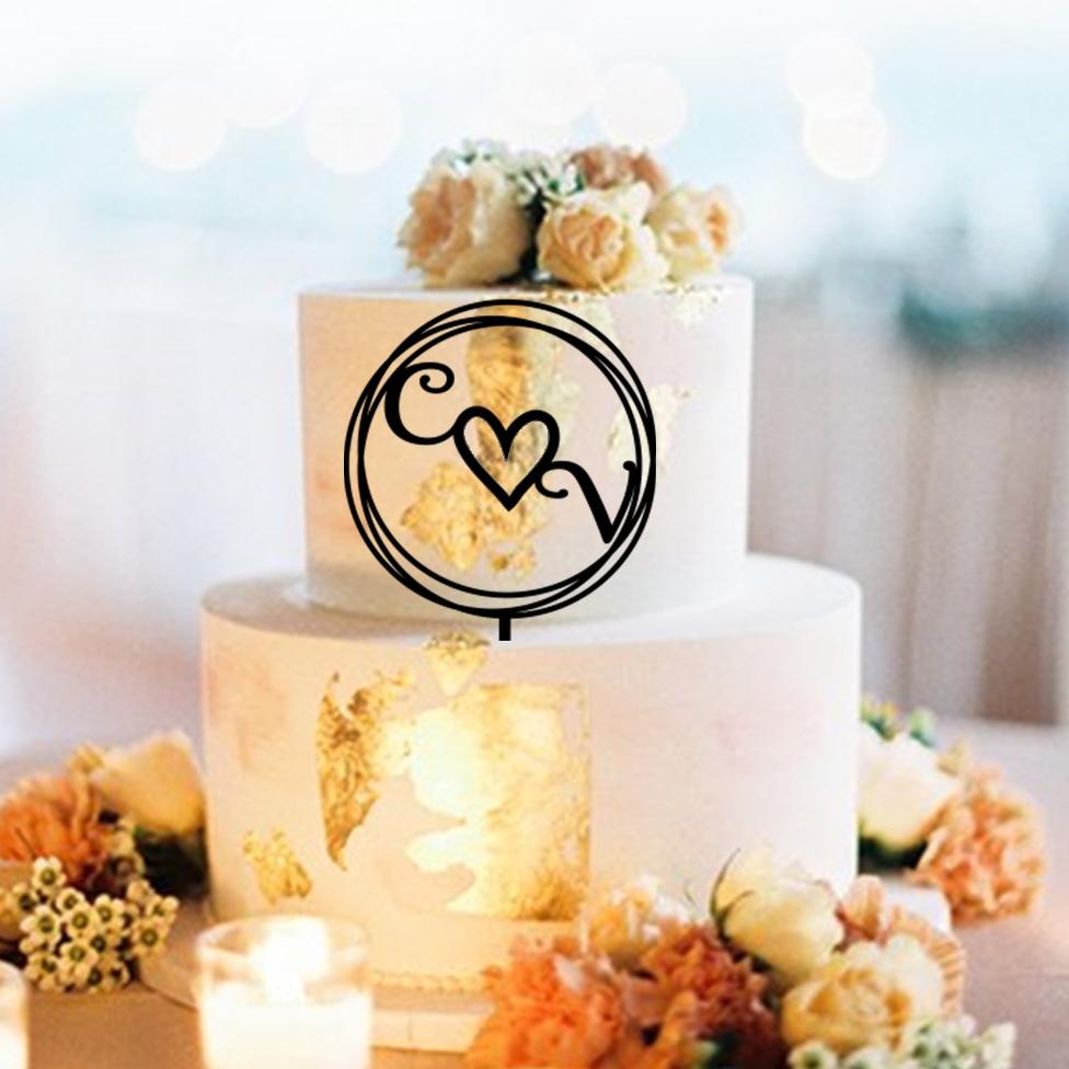 Initials Hearts Circles CV Cake Topper