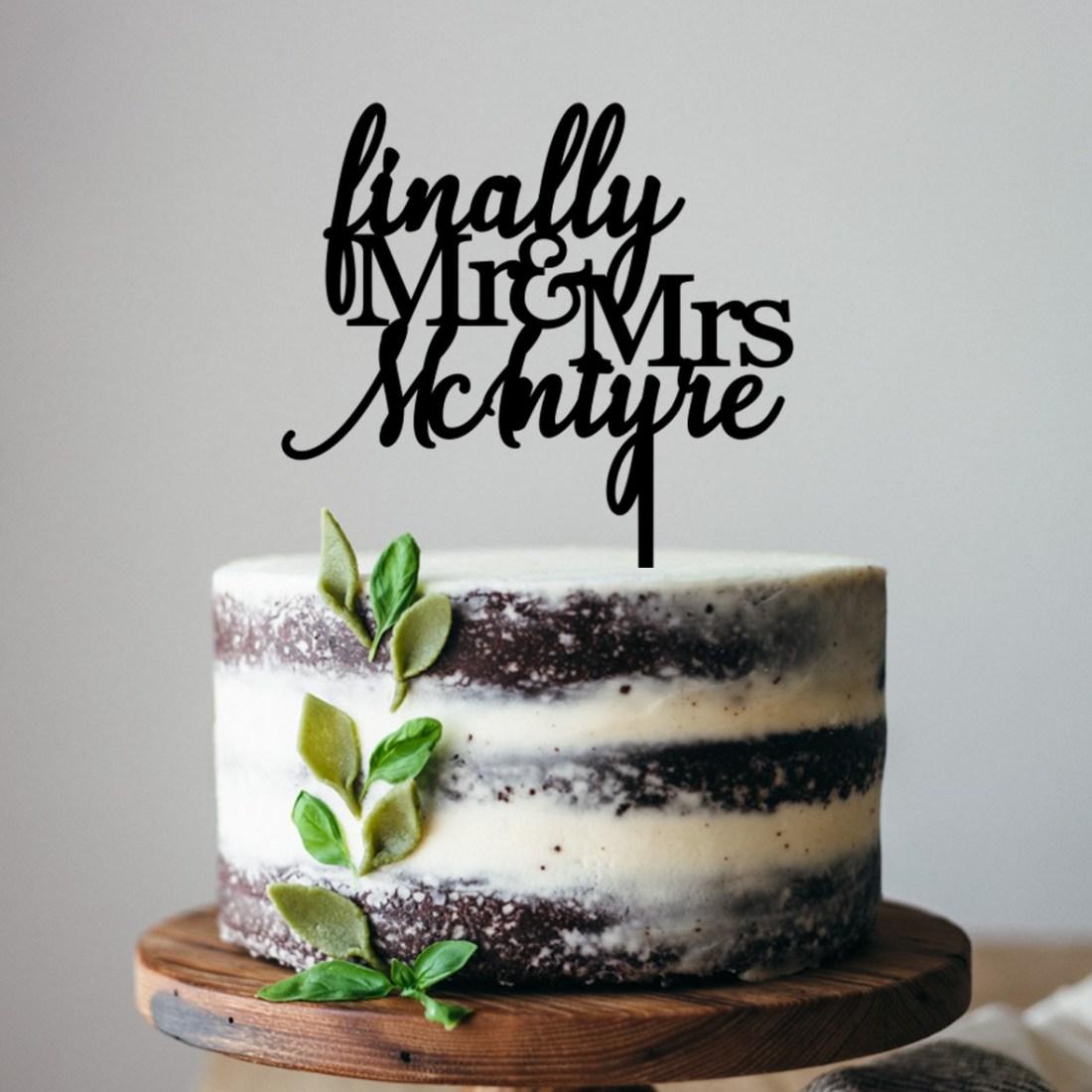 Finally Mr & Mrs Name Cake Topper