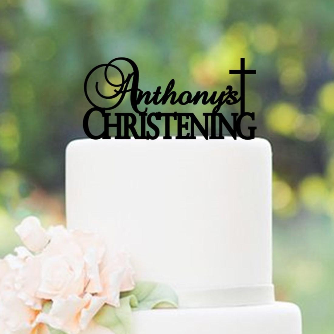 Personalised Name Christening Cross Cake Topper