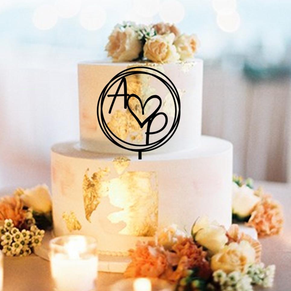 Initials Hearts Circles AP Cake Topper