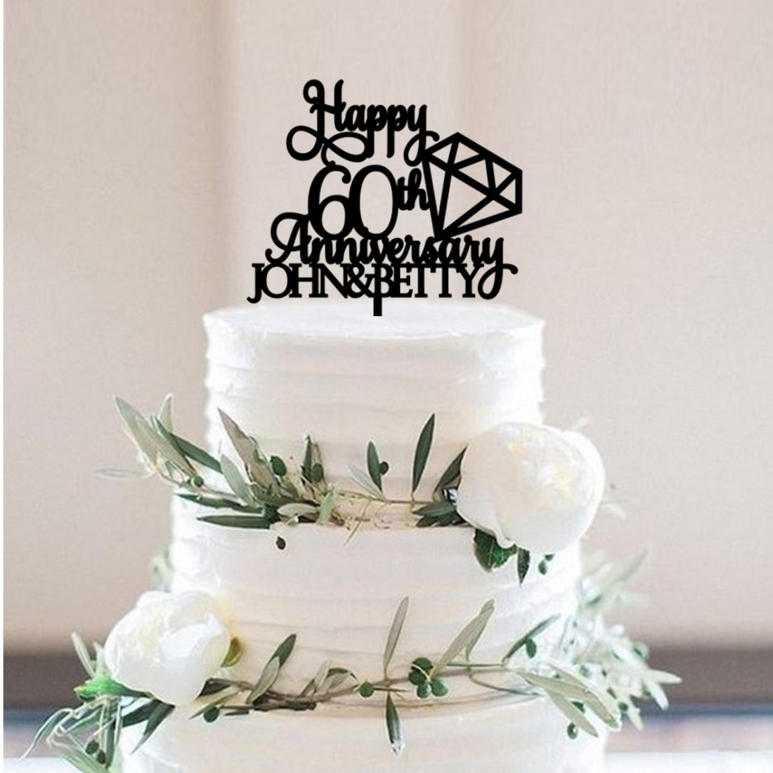 Happy 60th Diamond Wedding Anniversary Personalised Cake Topper