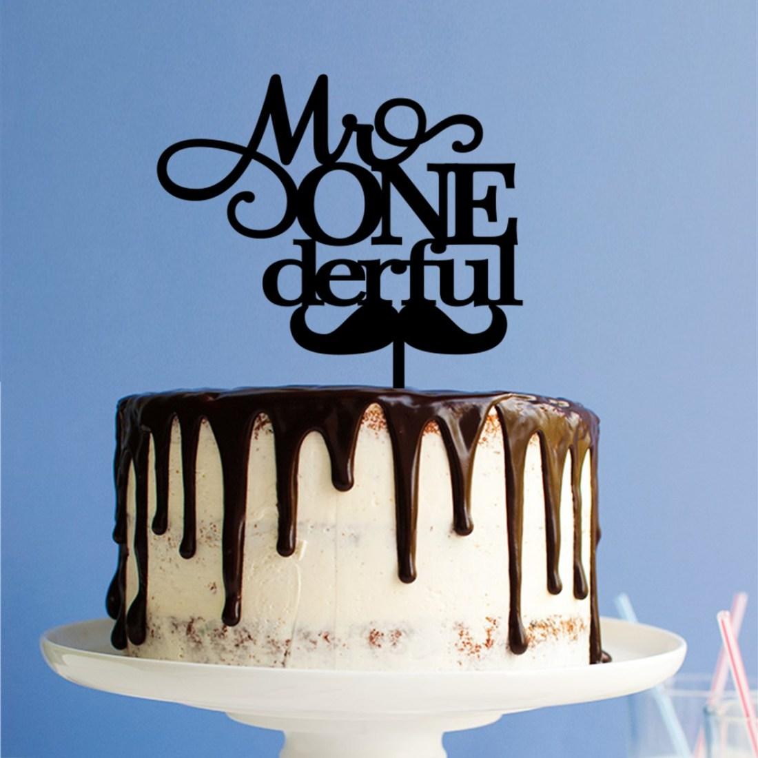 Mr ONE derful moustache Cake Topper