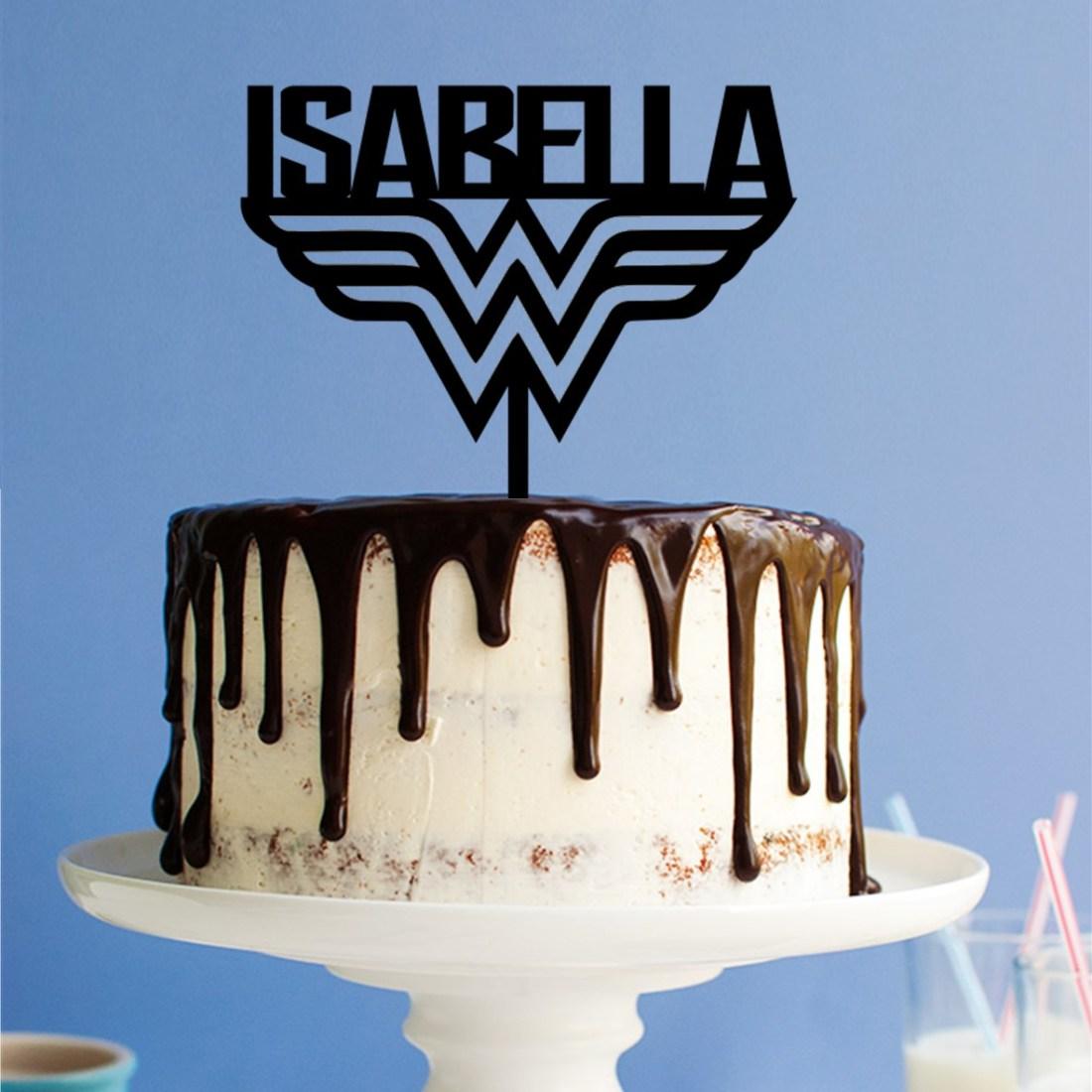 Personalised Wonder Woman W Cake Topper