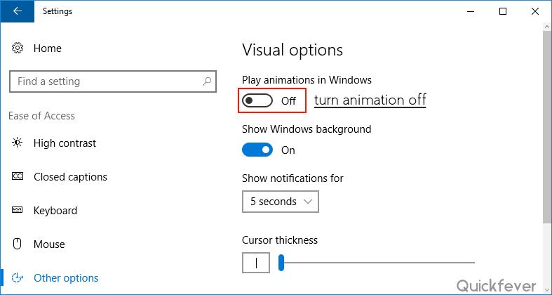Windows 10 Performance Tweaks animations