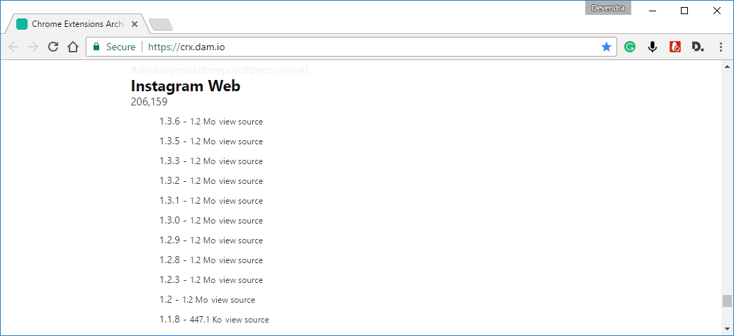 Download old version of Chrome extension