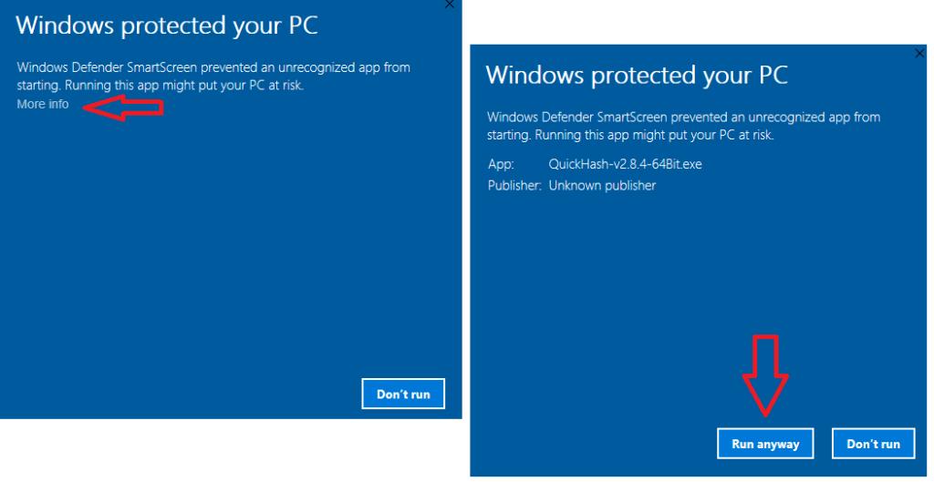 QuickHash-Windows10SecurityWarning