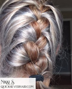 image of red and silver french braid