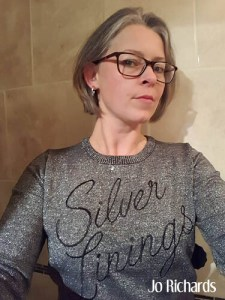 Image of Jo in silver linings sweater