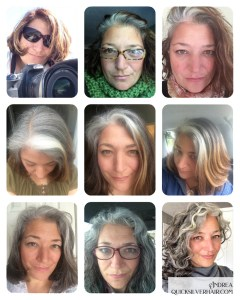 Collage images of Andrea G Transition To Gray Hair