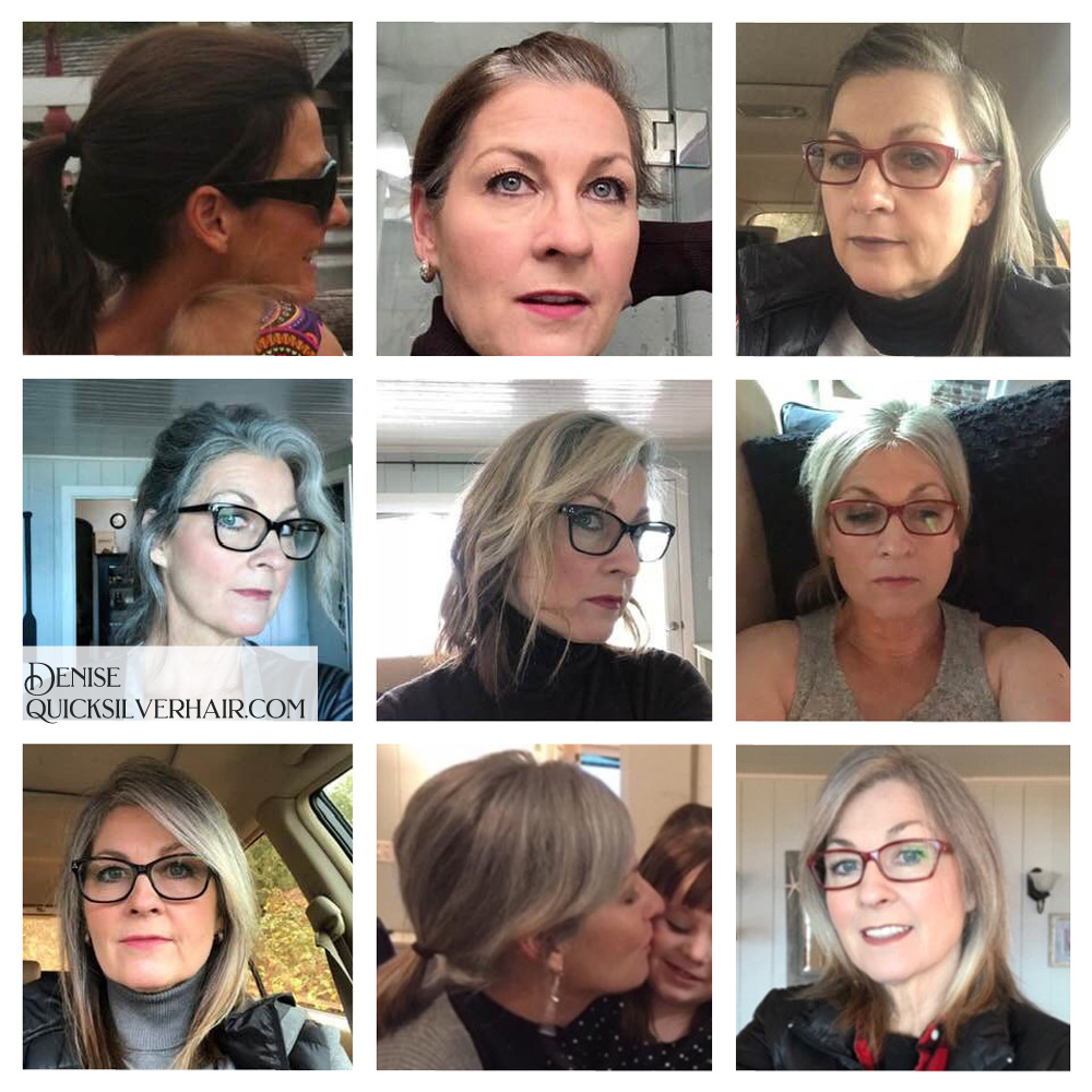 Collage pictures of Transition To Gray Hair Denise