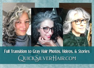 Image of three women with their Full Transition to Gray Hair
