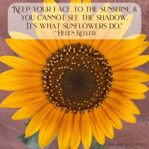 """Image of sunflower with quote """"Keep your face to the sunshine & you cannot see the shadow. It's what sunflowers do."""" by Helen Keller"""