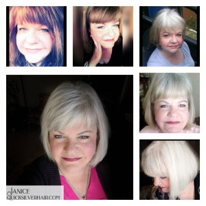 Collage images of Janice C Transition To Gray Hair