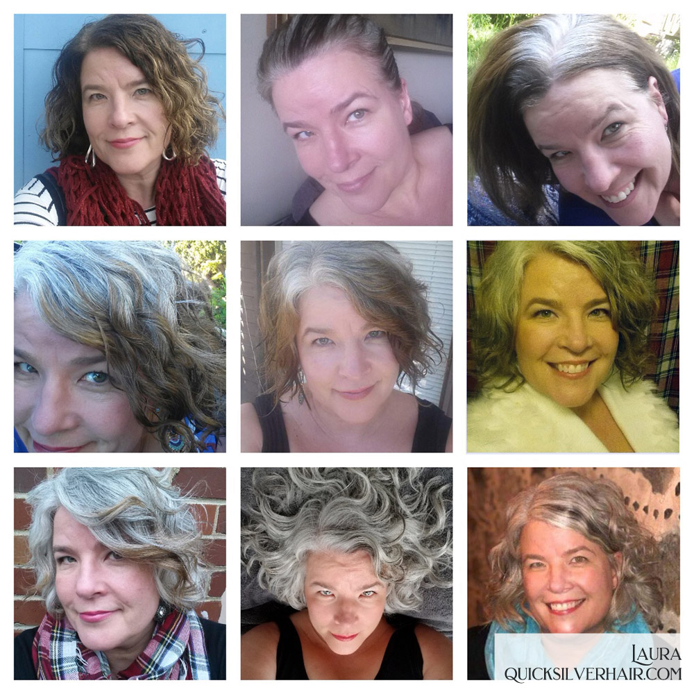 Collage pictures of Transition To Gray Hair Laura