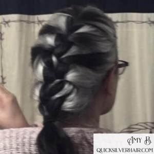 image of black and silver french braid