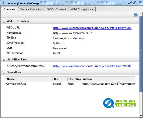View WSDL Properties in soapUI