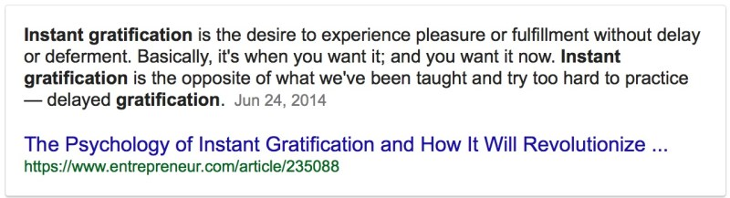 what is instant gratification Google Search