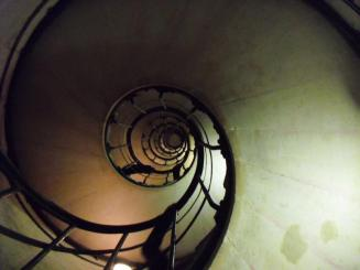 Spiral staircase up to the top!