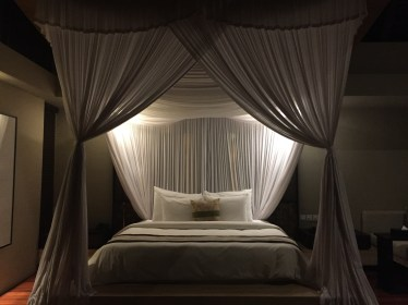 Comfy bed with mosquito netting