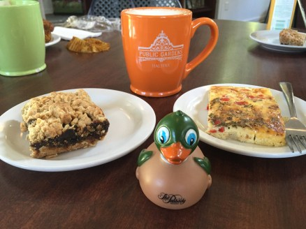 Date bar, coffee, frittata, my Duck (I did not eat him)