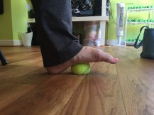 Heel on the ground, press into the mid foot