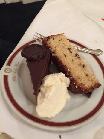 Sacher Torte and apple cake with cream