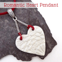Lace Textured Clay Heart Pendant