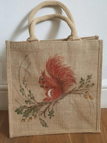 Handpainted squirrel jute bag by louisemoneyoriginals