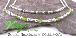 GREEN beads representing PERIDOT birthstone