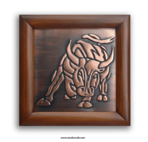 Framed copper bull by MyCopperCraft