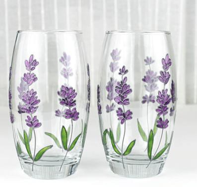 handpainted lavender glasses by witchcorner