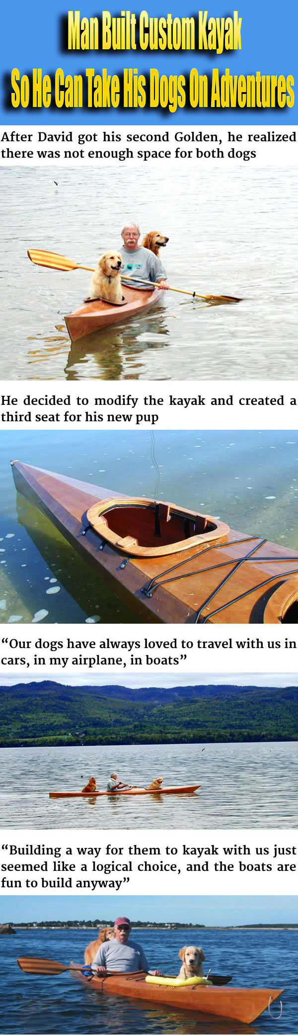 Man Built Custom Kayak So He Can Take His Dogs On Adventures