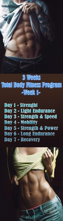 3 Weeks Total Body Fitness Program- Week 1