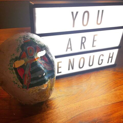 "Light box with ""you are enough"" message"